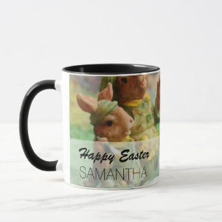 Easter Bunny Rabbit family and eggs Mug