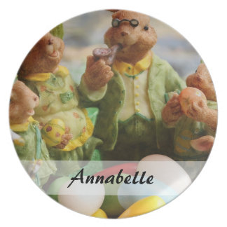 Easter Bunny Rabbit family and eggs Plate