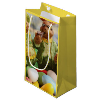 Easter Bunny Rabbit family and eggs Small Gift Bag