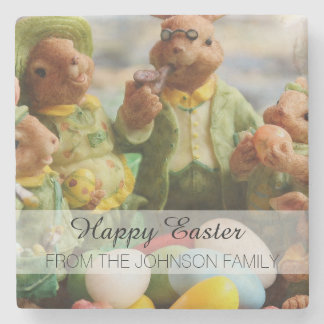 Easter Bunny Rabbit family and eggs Stone Beverage Coaster