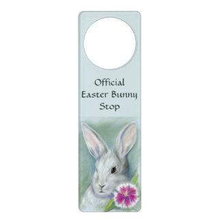 Easter Bunny Rabbit with Pink Flower Pastel Door Hanger