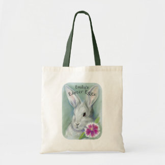 Easter Bunny Rabbit with Pink Flower Personalized Tote Bag