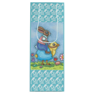 EASTER BUNNY RIDING CHICK GIFT BAG - WINE