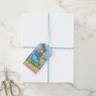 EASTER BUNNY RIDING CHICK GIFT TAGS Set