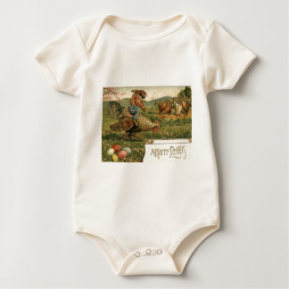 Easter Bunny Rooster Colored Egg Riding Baby Bodysuit