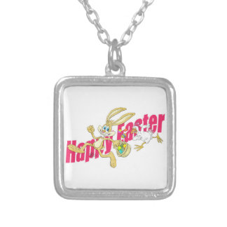 Easter bunny running away from a chicken. square pendant necklace
