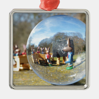 Easter Bunny school seen through the glass ball Silver-Colored Square Ornament
