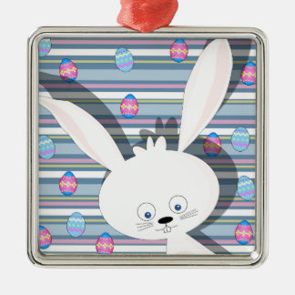 Easter bunny Silver-Colored square decoration