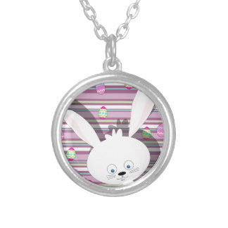 Easter bunny silver plated necklace