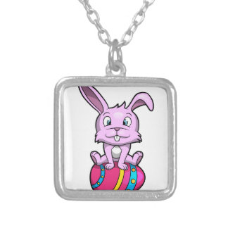 Easter Bunny Sitting on an Egg Square Pendant Necklace