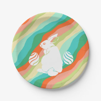 Easter Bunny Spring Abstract Pattern Paper Plate