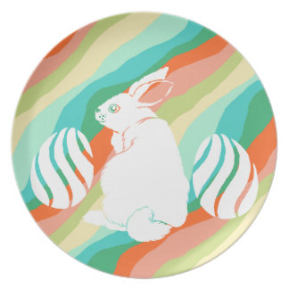 Easter Bunny Spring Abstract Pattern Plate