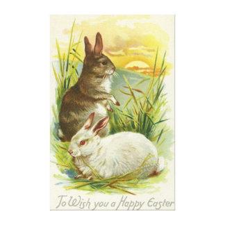 Easter Bunny Sunset Grass Landscape Canvas Print