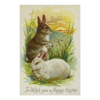 Easter Bunny Sunset Grass Landscape Posters
