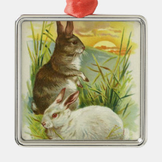 Easter Bunny Sunset Grass Landscape Silver-Colored Square Decoration