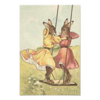 Easter Bunny Swinging On Swing Field Flower Photograph