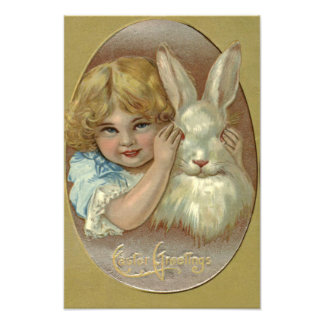 Easter Bunny Victorian Girl Photograph