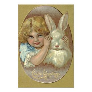 Easter Bunny Victorian Girl Photograph