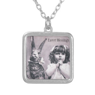 Easter Bunny Victorian Girl Praying Antique Card Square Pendant Necklace