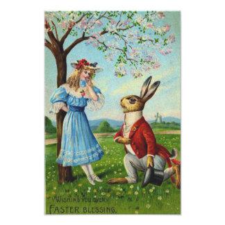 Easter Bunny Victorian Woman Cherry Tree Photo Art