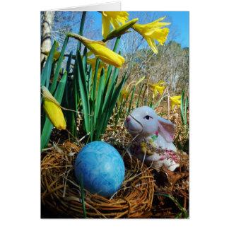 Easter Bunny /  white Rabbit , blue egg Greeting Cards