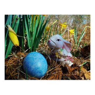 Easter Bunny /  white Rabbit , blue egg Postcard