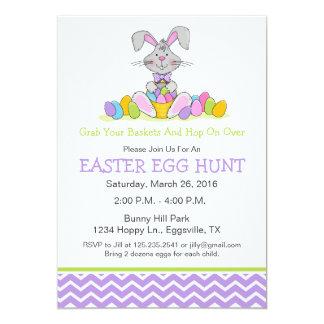 Easter Bunny with Basket Egg Hunt Invitation