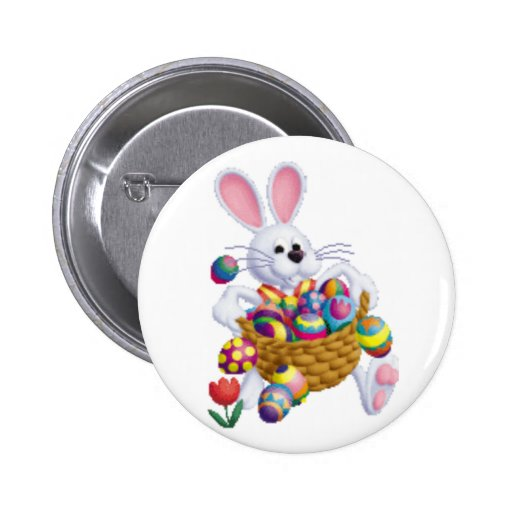 Easter Bunny with Basket of Eggs Pinback Button