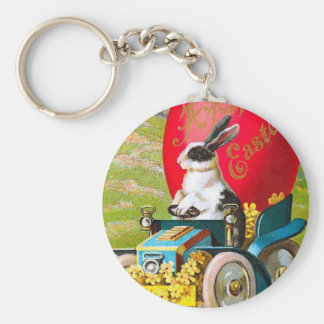 Easter Bunny With Cool Car Vintage Floral Basic Round Button Key Ring