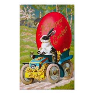 Easter Bunny With Cool Car Vintage Floral Poster