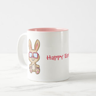 Easter Bunny with cute Bunny Drawing Two-Tone Coffee Mug