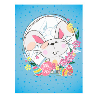 Easter Bunny with Decorated eggs and Spring Flower Postcard