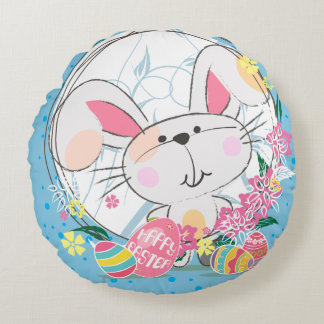 Easter Bunny with Decorated eggs and Spring Flower Round Pillow