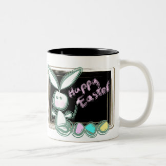 Easter Bunny With Eggs And Blackboard Mugs