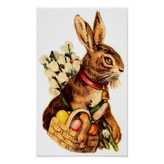 Easter Bunny With Eggs and Flowers Poster