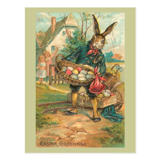 Easter Bunny With Eggs For Children Vintage Postcard