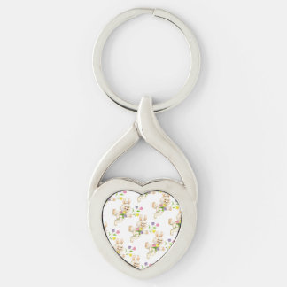 Easter Bunny with flowers cartoon Silver-Colored Heart-Shaped Metal Keychain