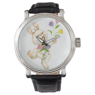 Easter Bunny with flowers cartoon Watch