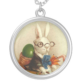 Easter Bunny with Glasses Round Pendant Necklace