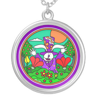 Easter Bunny with Hat Silver Pendant Necklace