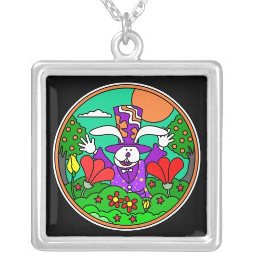 Easter Bunny with Hat: Silver Pendant Necklace