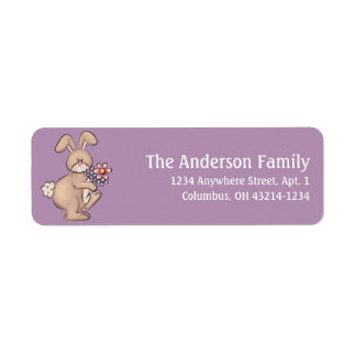 Easter Bunny with Spring Flowers Address Labels