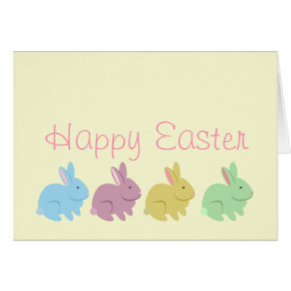 Easter Card - Blue Purple Yellow & Green Rabbits