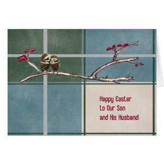 Easter Card for Son and Husband Plaid with Owls