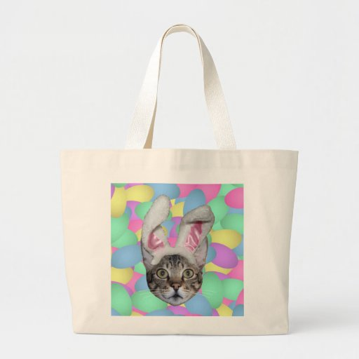 Easter Cat Bunny Ears Canvas Bag