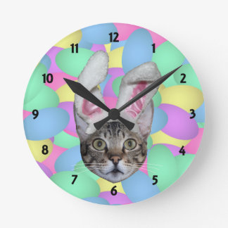 Easter Cat Bunny Ears Clocks