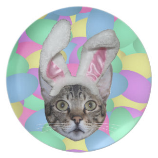 Easter Cat Bunny Ears Plate