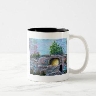 Easter Cat Christian Art Empty Tomb Two-Tone Coffee Mug