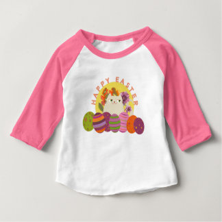 Easter Cat Cute Floral Pink Spring Eggs Colors Baby T-Shirt