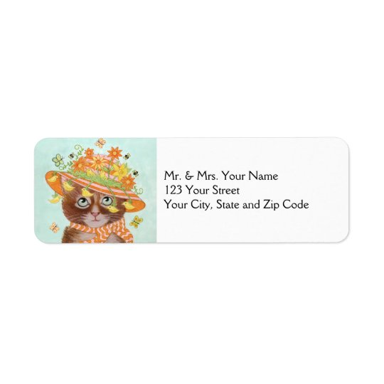 Easter Cat in Easter Bonnet with Butterflies Return Address Label